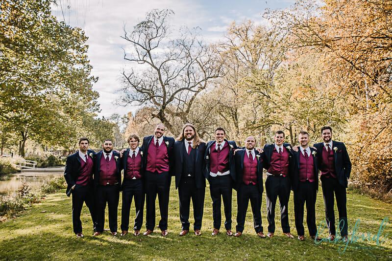 groomsmen at sidecut park in the fall