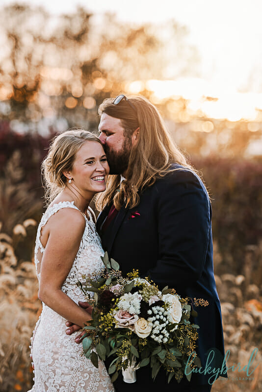 sunset photos in the fall at toledo wedding