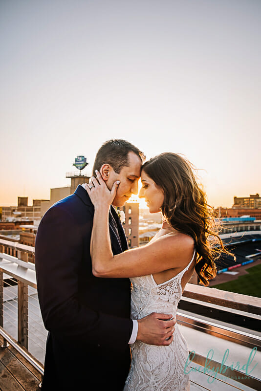 sunset wedding photography at fleetwoods downtown toledo