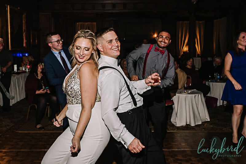 bride and groom dancing at toledo club