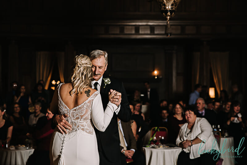 father daughter photo inside toledo club wedding