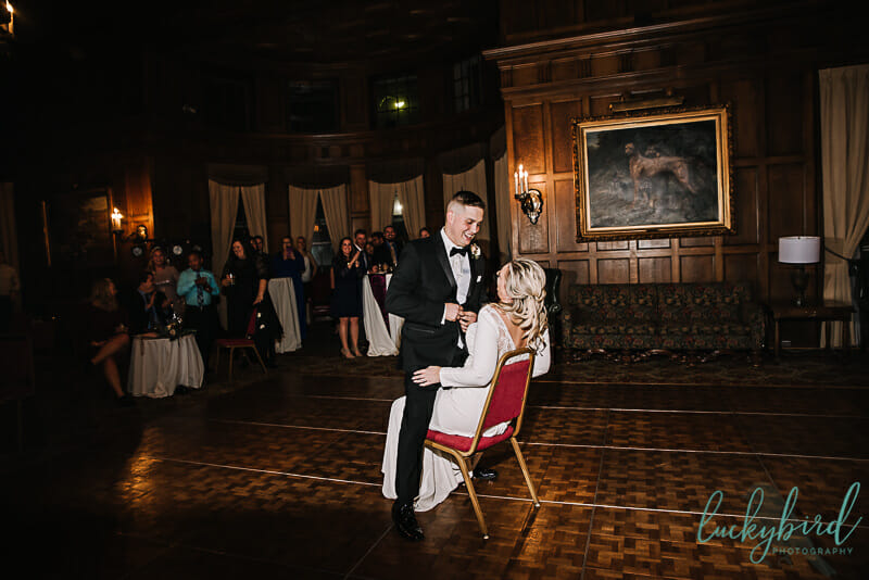 garter removal photo at toledo club wedding