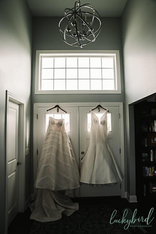 kleinfeld wedding dresses hanging in perrysburg home