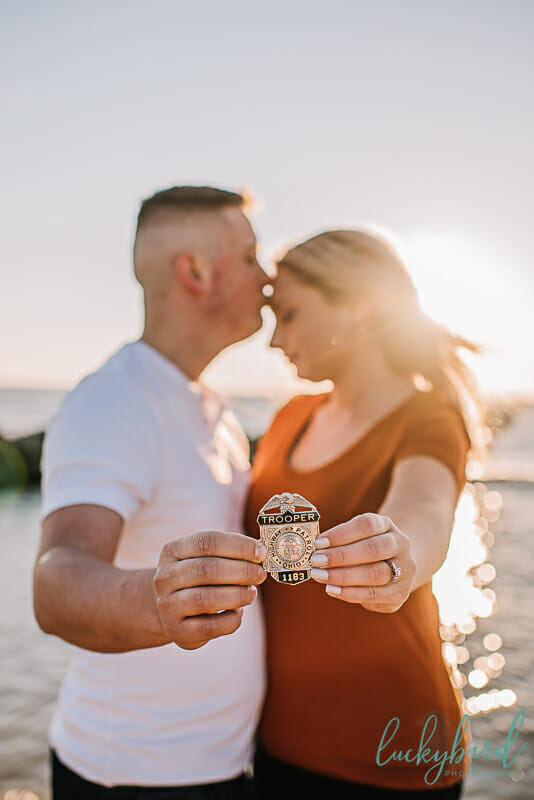 state trooper engagement photos with badge