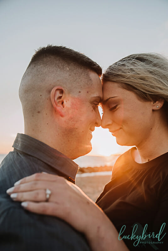 sunrise summer engagement picture at maumee bay