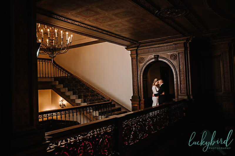 toledo club wedding with woodwork and arch
