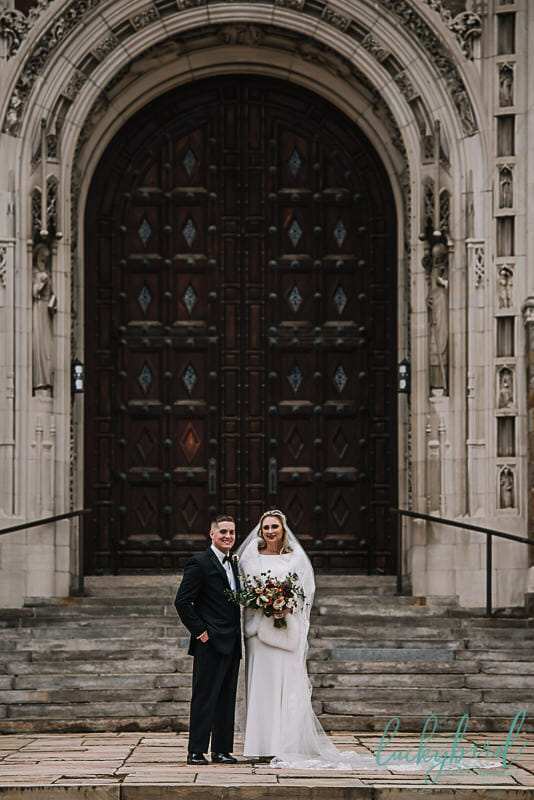 wedding photo outside of holy rosary toledo