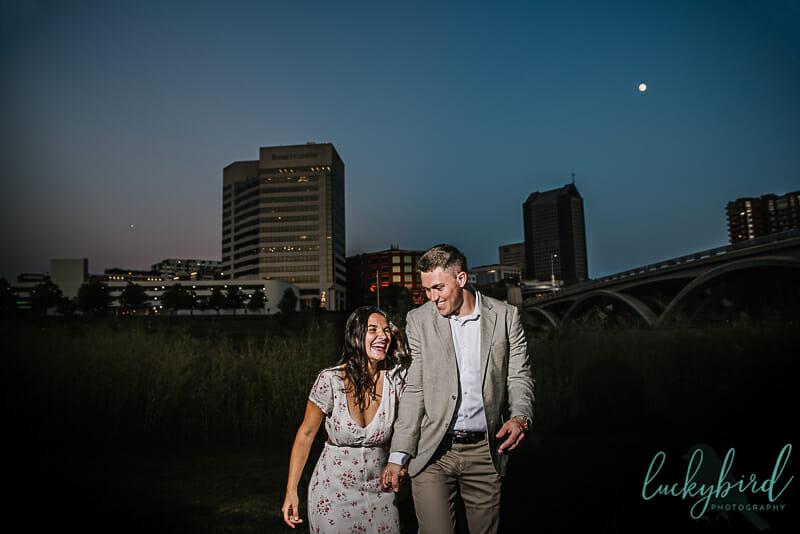 columbus engagement photos at night