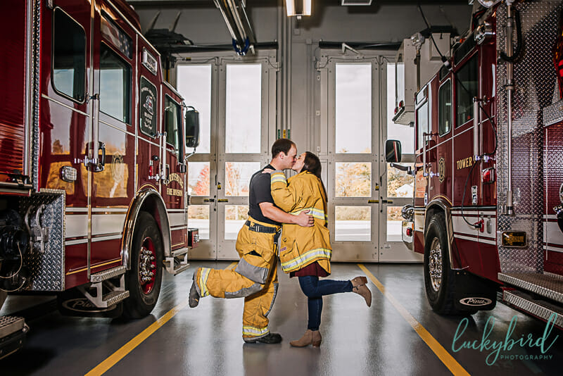 Perrysburg fire station firefighter engagement session