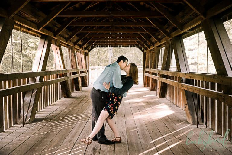 covered bridge engagement photo toledo