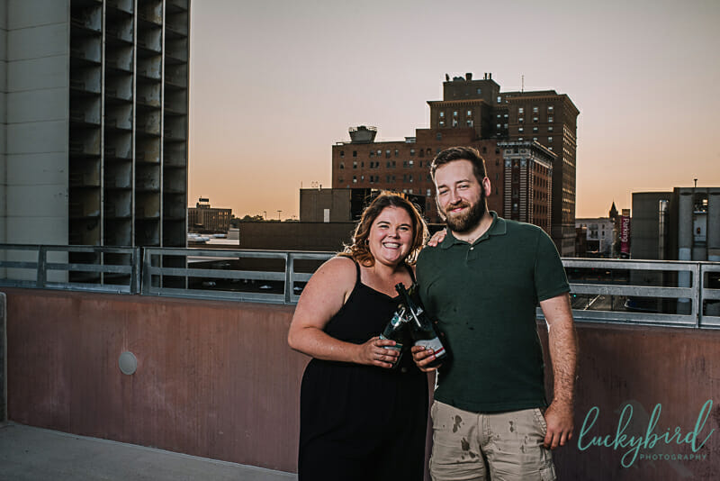 cute champagne engagement photos in toledo