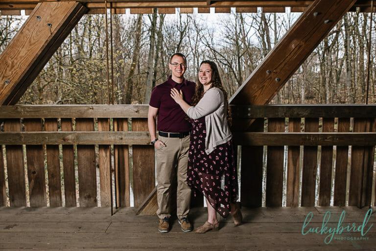 engagement photo at Toledo Botanical courtyard