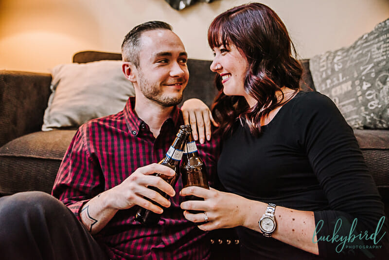 home engagement session with beer