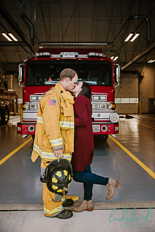 perrysburg fire station engagement session with hat and jacket