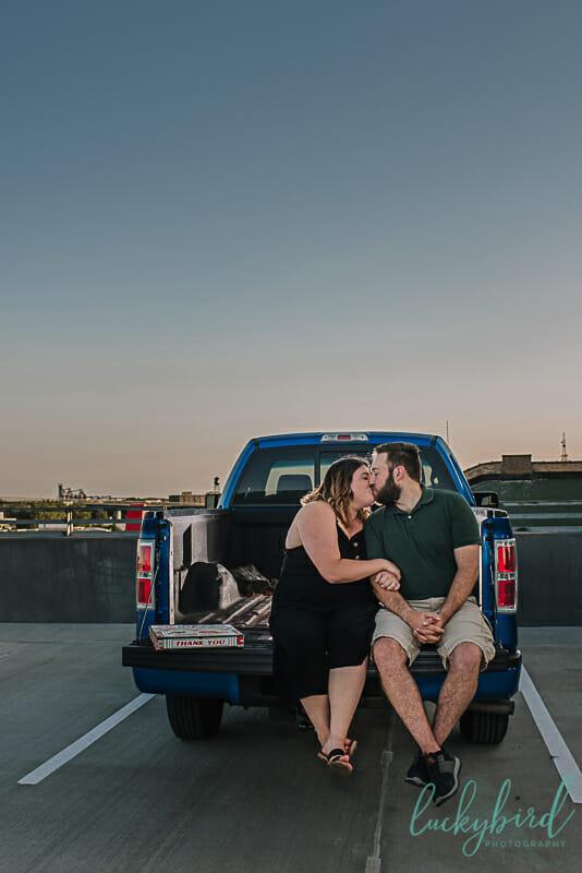 pickup truck engagement photos in toledo