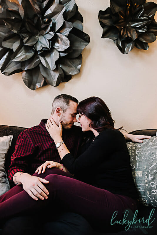 romantic home engagement session in ohio