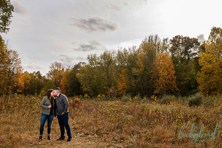 wildwood field engagement photo in the fall