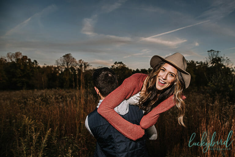 wildwood field engagement photo with tall grass
