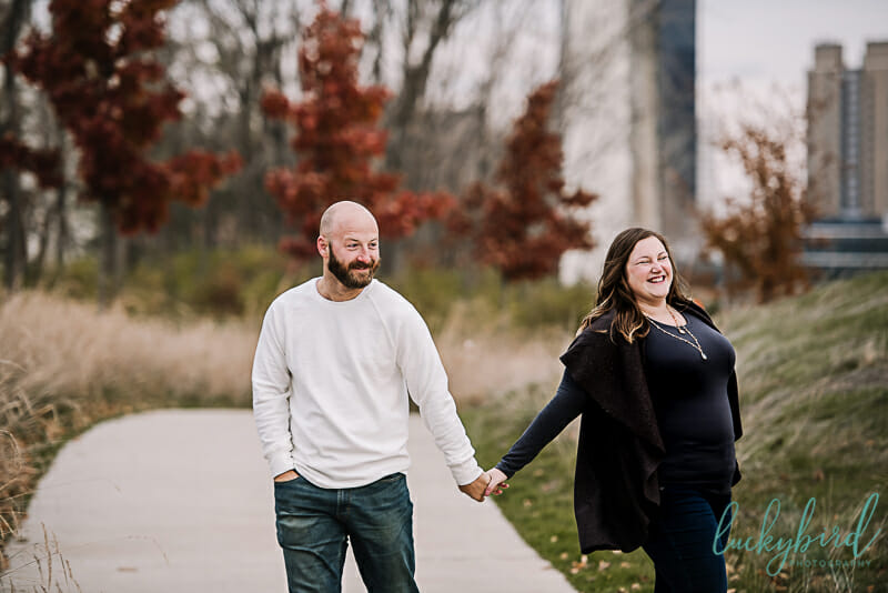 candid engagement session at middlegrounds park
