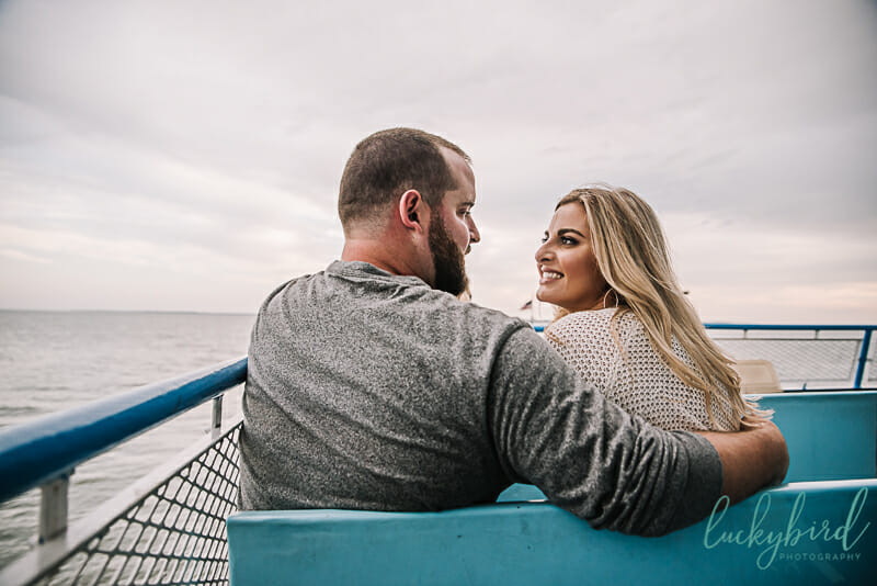 engagement photos on the ferry at put in bay