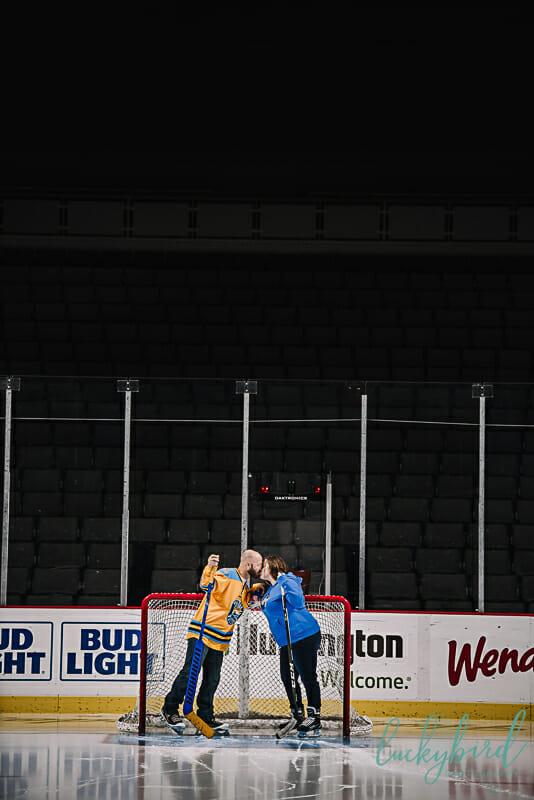 hockey engagement photos on the ice