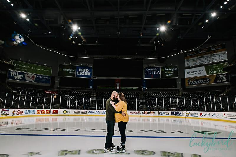huntington center toledo engagement photos on the ice