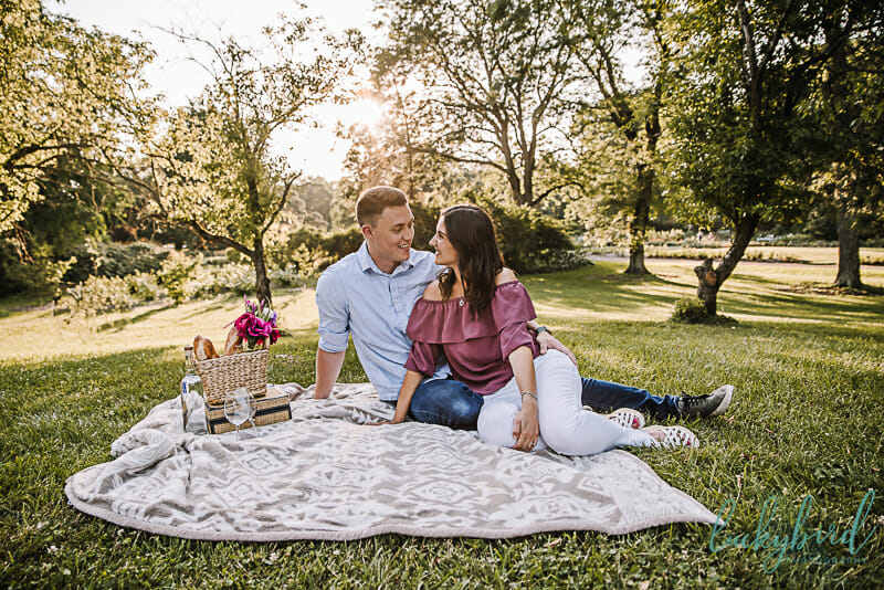 park of roses columbus picnic engagement session