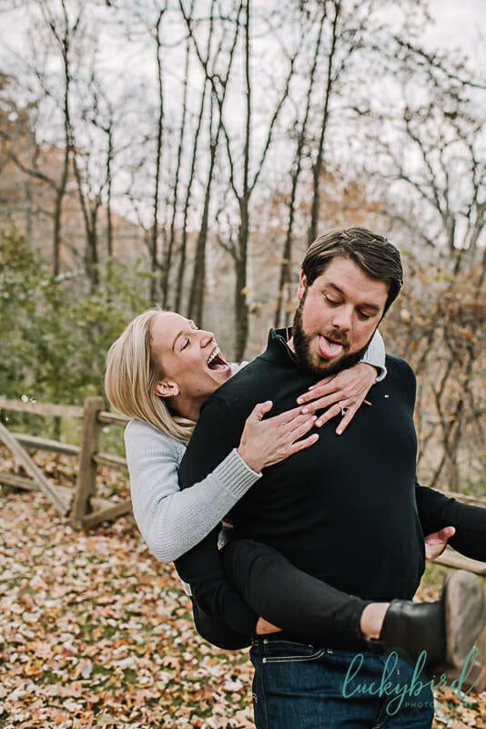 toledo engagement photo piggy back ride