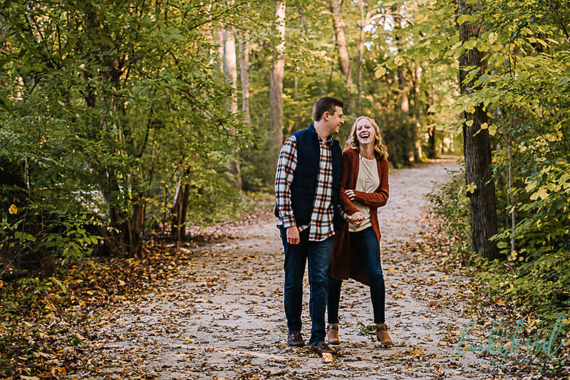 pearson park engagement photos in the fall on a path
