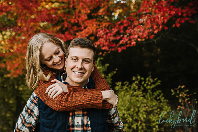 pearson park engagement session with red tree fall
