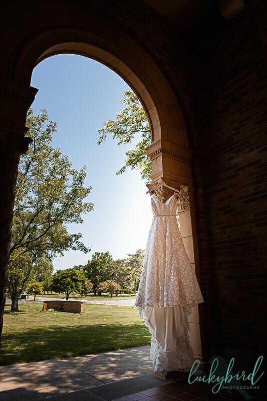 toledo wedding dress hanging at gesu