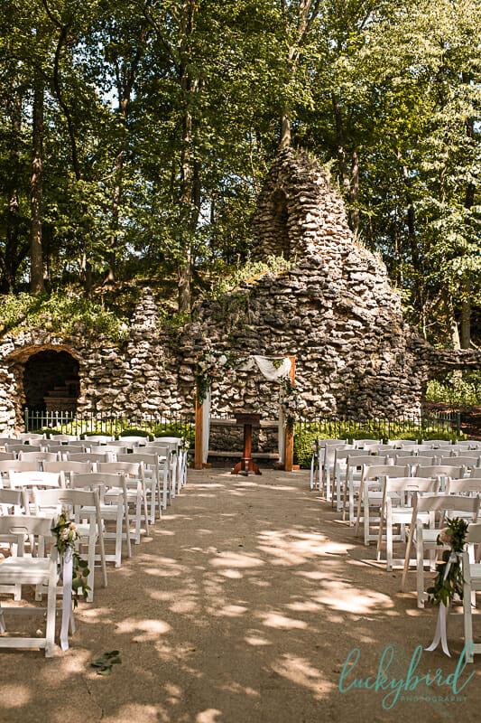 nazareth hall grotto wedding ceremony in summer
