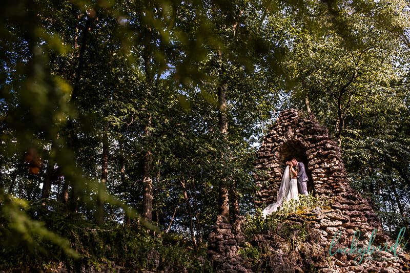 nazareth hall grotto wedding photo in rocks cave
