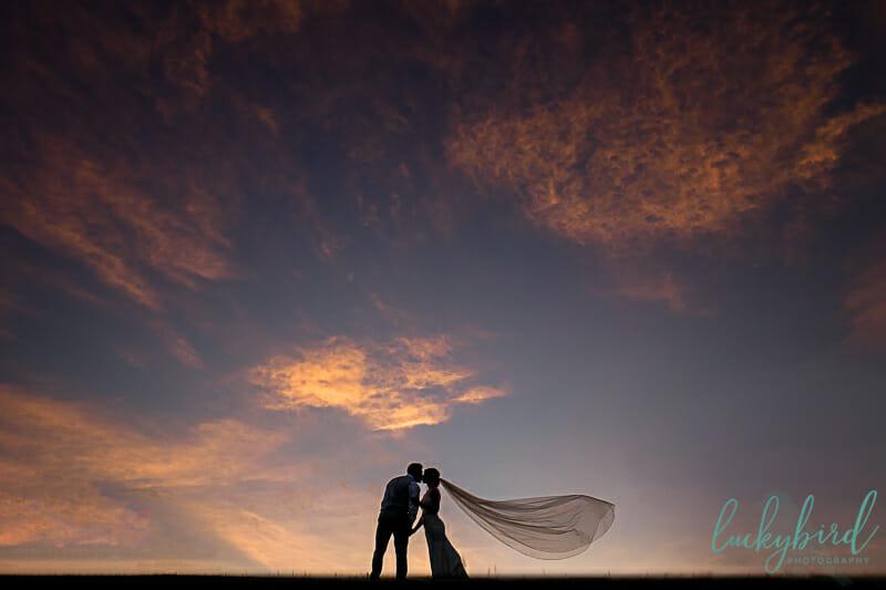sunset photo at nazareth hall during wedding