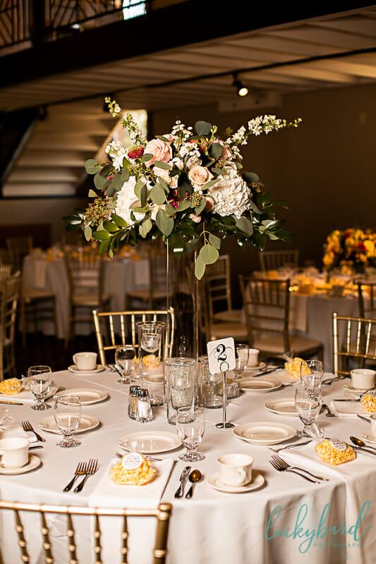 tall wedding centerpieces at nazareth hall