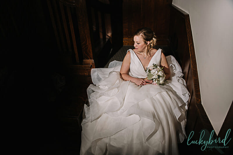 bride sitting in wedding dress columbus ohio