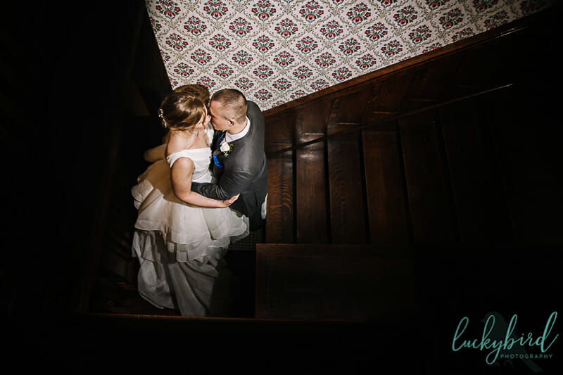 columbus ohio wedding photo on staircase