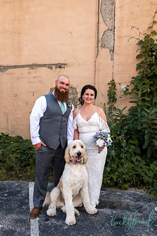 downtown toledo wedding photo with dog
