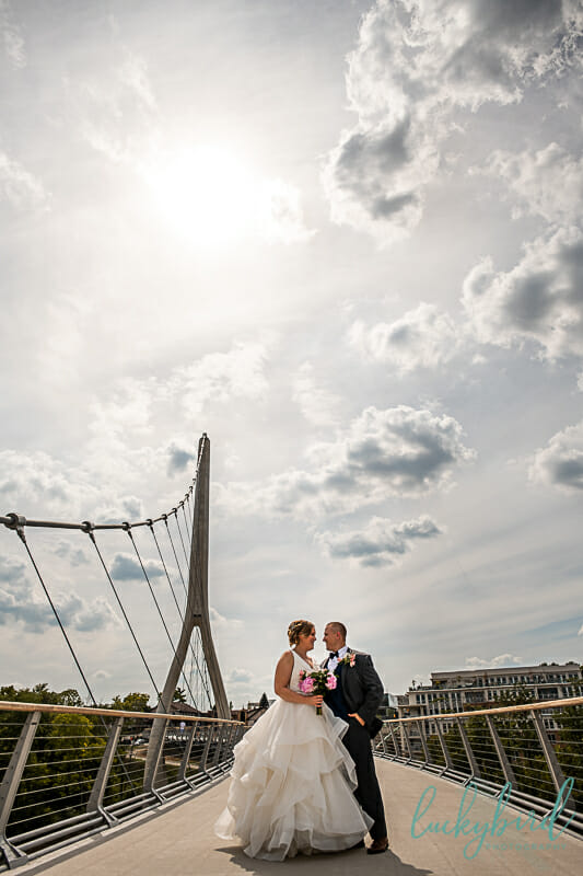 dublin pedestrian bridge wedding photo