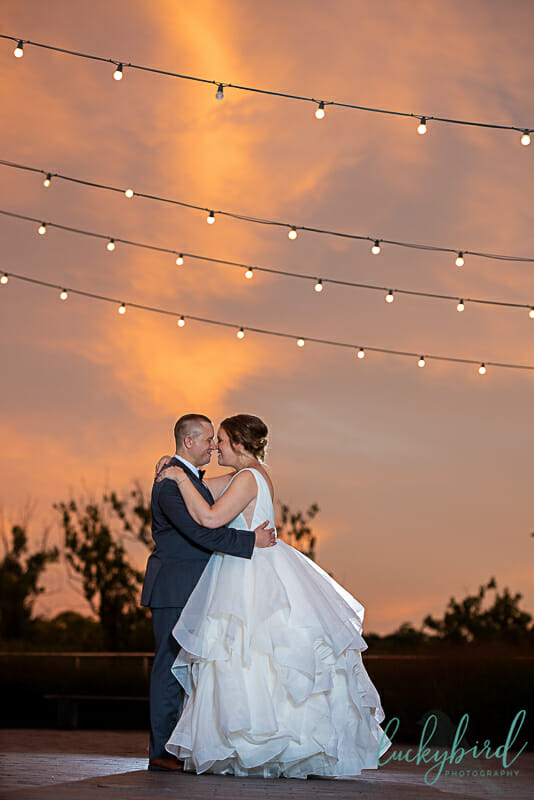 dublin string light wedding photo