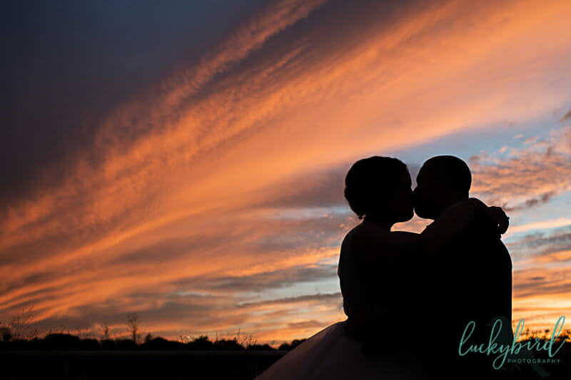 sunset silhouette photo during dublin ohio wedding