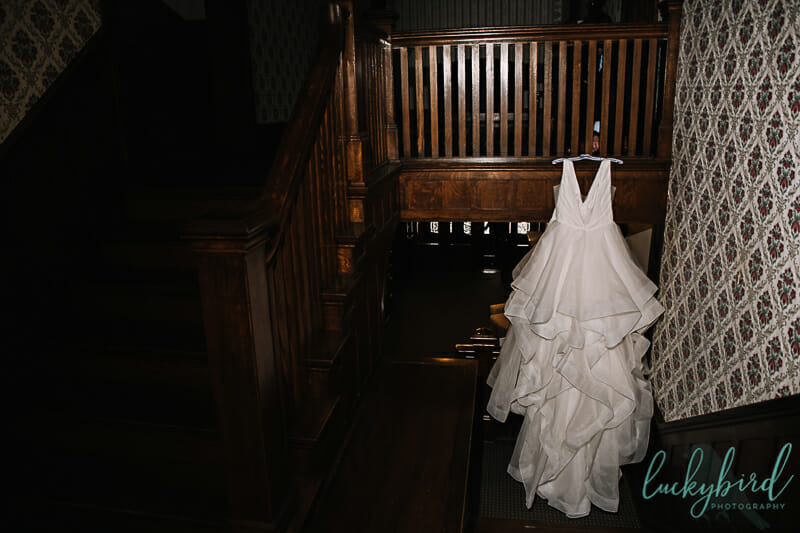 wedding dress hanging at columbus ohio venue