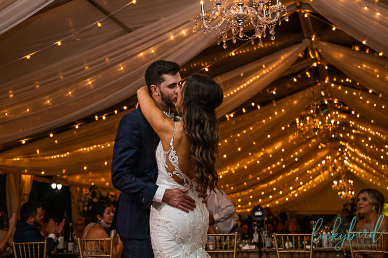 first dance under clear tent