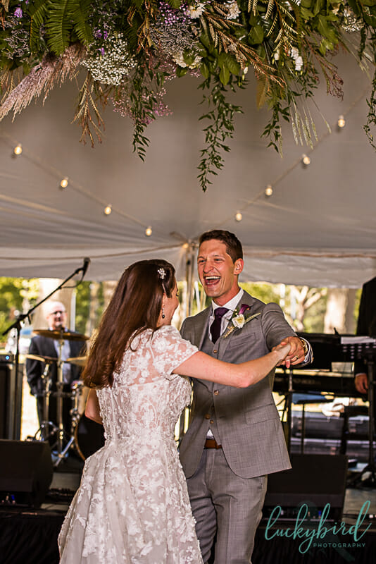 first dance wedding photo at toledo botanical garden