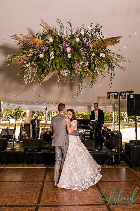 first dance wedding photo under tent