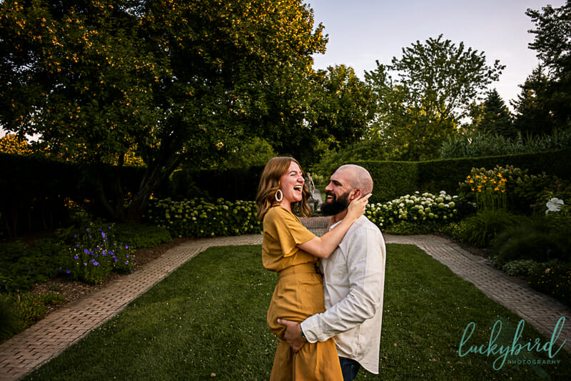 fun courtyard engagement photos toledo botanical garden