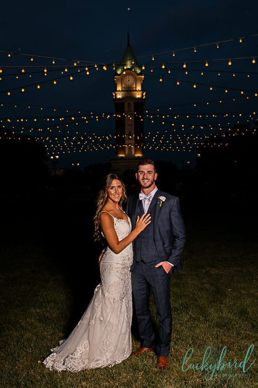 levis commons clock tower wedding photo