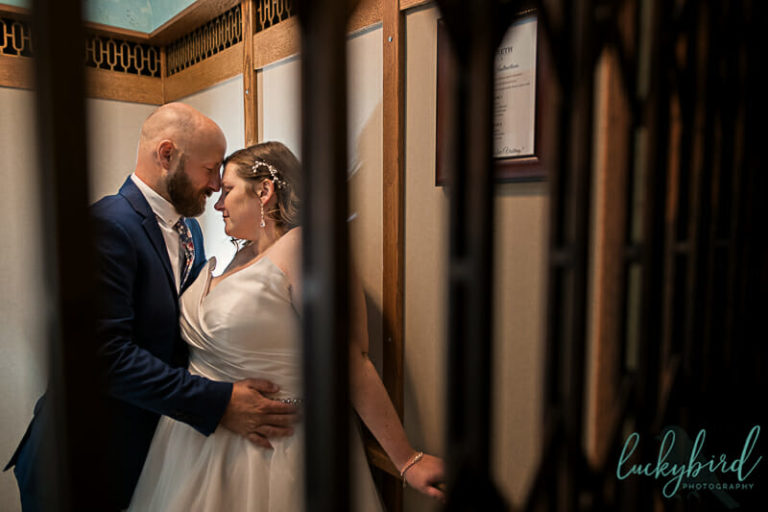 nazareth hall elevator wedding photo