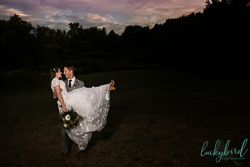 sunset wedding photo at toledo botanical garden