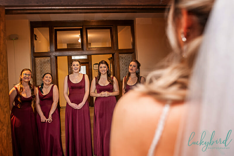 bridesmaids reveal at nazareth hall riverview library